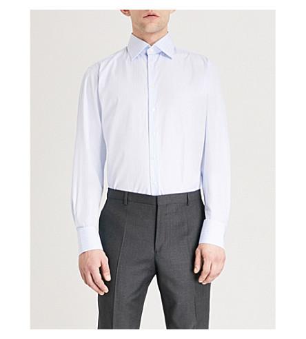 THOMAS PINK Brummel striped classic-fit cotton shirt (Pale+blue/blue