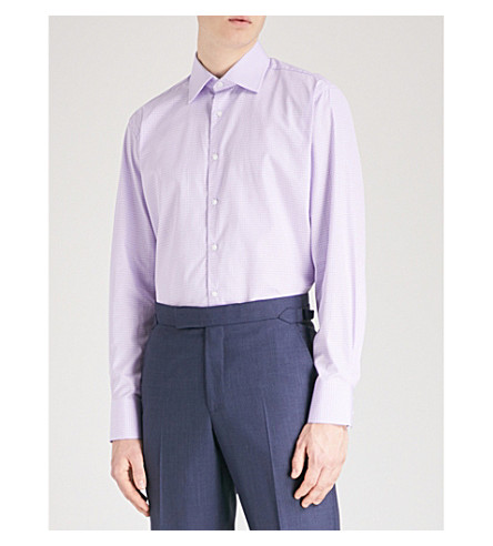 THOMAS PINK Brummel checked classic-fit cotton shirt (Lilac/purple