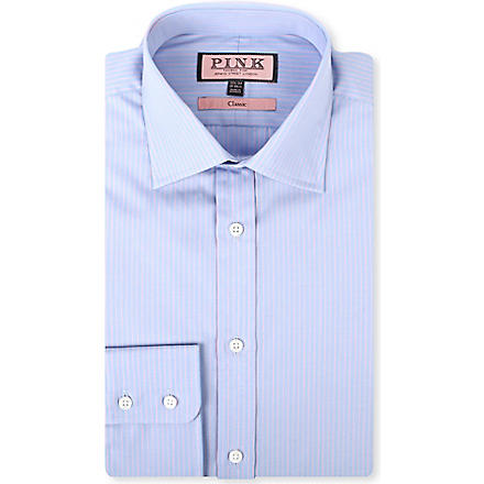 THOMAS PINK Alexander classic-fit single-cuff shirt (Blue/pink