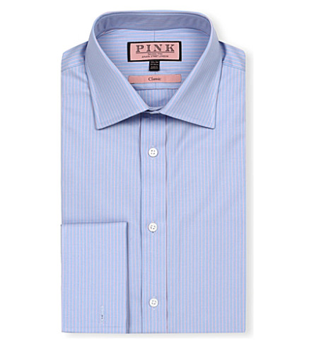 THOMAS PINK Alexander classic-fit double-cuff shirt (Blue/pink