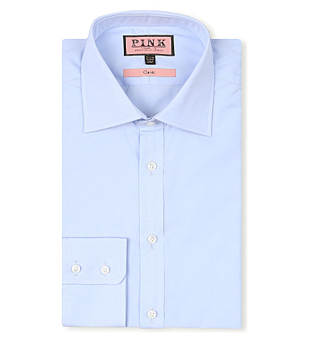 THOMAS PINK Classic-fit button-cuff shirt (Pale+blue