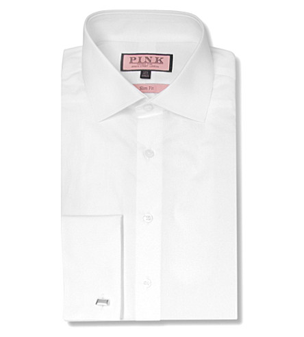THOMAS PINK Emmanuel slim fit double cuff shirt (White