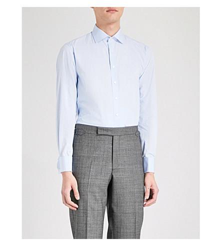 THOMAS PINK Frederick slim-fit cotton-poplin shirt (Pale+blue