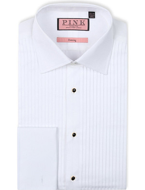 THOMAS PINK Pleat classic-fit double-cuff evening shirt