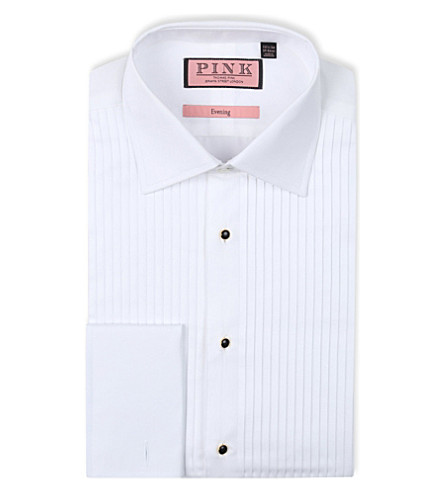 THOMAS PINK Pleat classic-fit double-cuff evening shirt (White