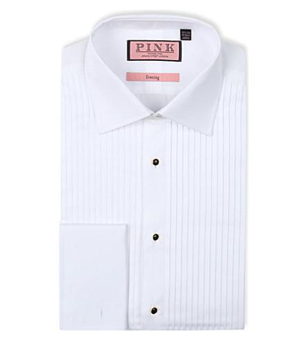 THOMAS PINK 褶经典-适合 double-cuff 晚衬衫 (白色