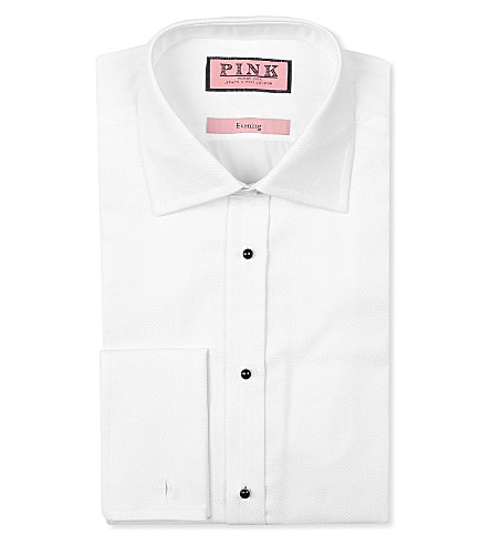 THOMAS PINK Marcella studded classic-fit double-cuff evening shirt (White