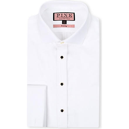 THOMAS PINK Marcella super slim-fit double-cuff evening shirt (White