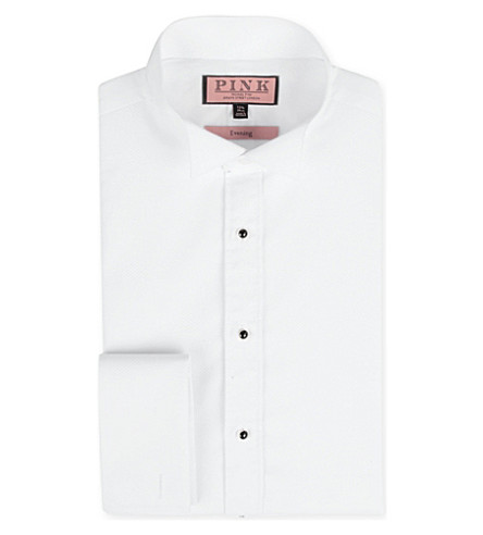 THOMAS PINK Marcella slim-fit double-cuff evening shirt (White