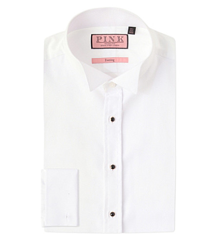 THOMAS PINK Marcella evening wing collar slim-fit cotton shirt (White