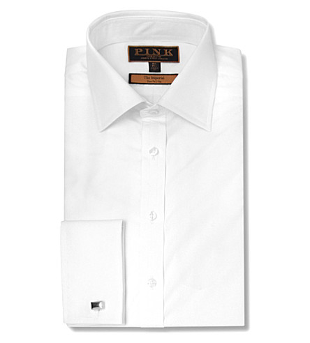 THOMAS PINK Edwin slim fit double cuff shirt (White