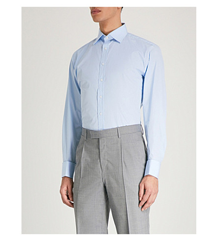 THOMAS PINK Edwin slim-fit cotton shirt (Pale+blue