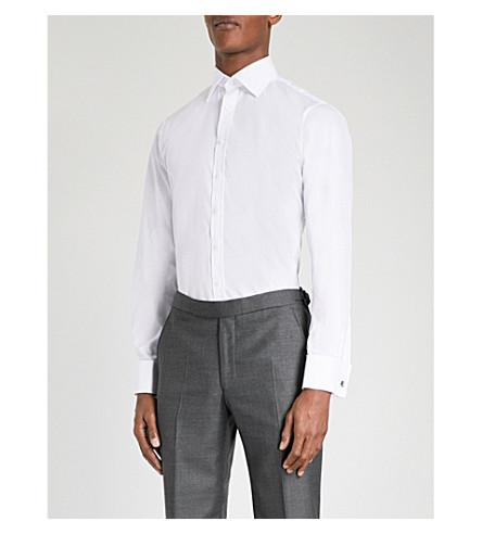 THOMAS PINK Edwin slim-fit cotton-poplin shirt (White