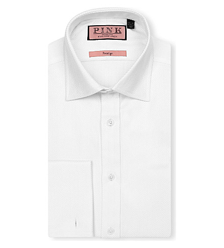 THOMAS PINK Ronan classic-fit double-cuff Prestige shirt (White