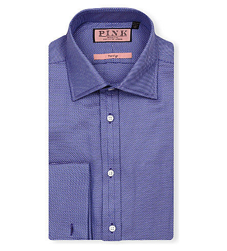 THOMAS PINK Saladin classic-fit double-cuff shirt (Blue/purple