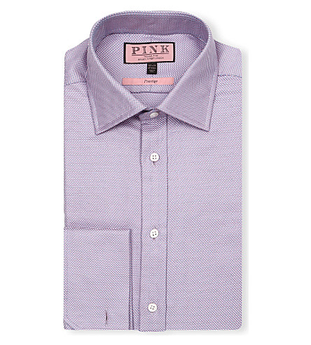 THOMAS PINK Saladin classic-fit double-cuff shirt (Pink/blue