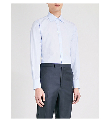 THOMAS PINK Charles cotton shirt (Pale+blue