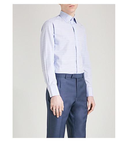THOMAS PINK Plath checked slim-fit cotton shirt (Blue/white