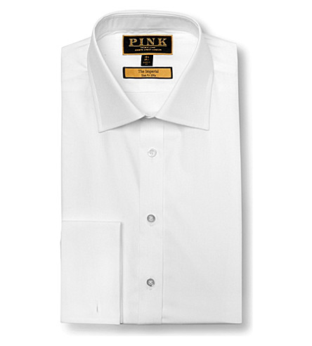 THOMAS PINK Imperial slim fit double cuff shirt (White