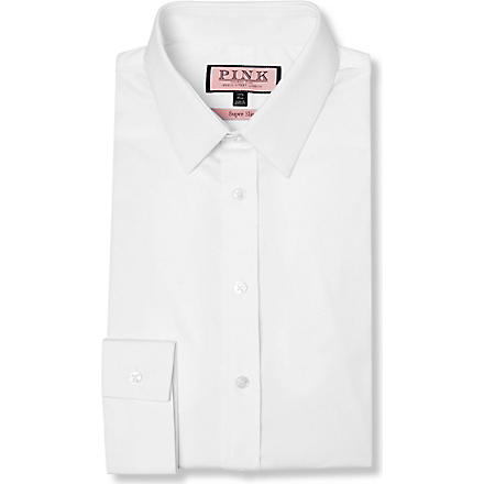 THOMAS PINK Freddie super slim fit single cuff shirt (White