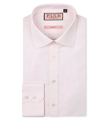 THOMAS PINK Quintessential slim-fit single-cuff shirt (Pale+pink