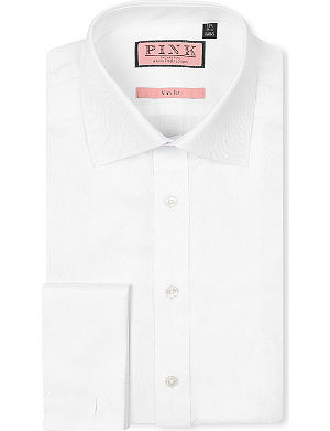THOMAS PINK Jude herringbone slim-fit double-cuff shirt