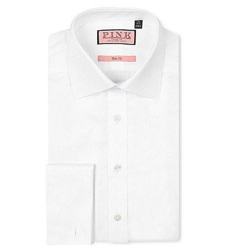 THOMAS PINK Jude herringbone slim-fit double-cuff shirt (White