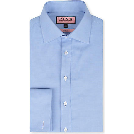 THOMAS PINK Slim-fit double-cuff Oxford shirt (Blue