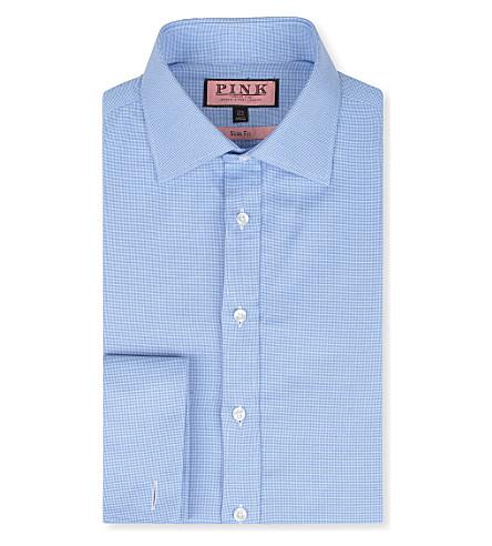 THOMAS PINK Royal Oxford slim-fit double-cuff shirt (Blue