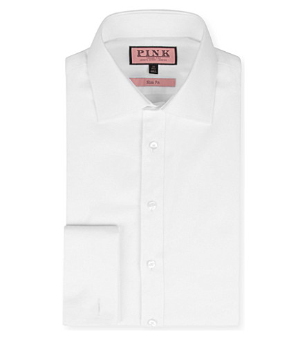 THOMAS PINK Royal Oxford slim-fit double-cuff shirt (White