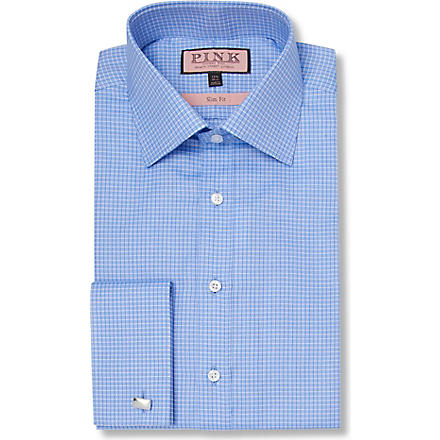 THOMAS PINK Moto Check slim fit double cuff shirt (Blue/blue