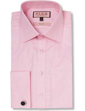 THOMAS PINK Moto Check slim fit double cuff shirt