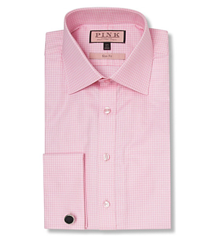 THOMAS PINK Moto Check slim fit double cuff shirt (Pink/pink