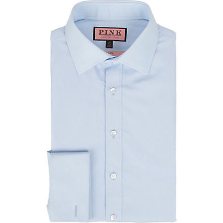 THOMAS PINK Quintessential slim fit double cuff shirt (Pale+blue