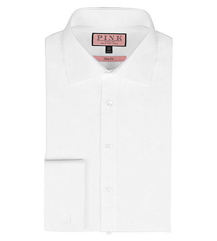 THOMAS PINK Quintessential slim fit double cuff shirt (White