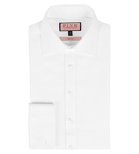 THOMAS PINK Slim-fit double-cuff twill shirt (White
