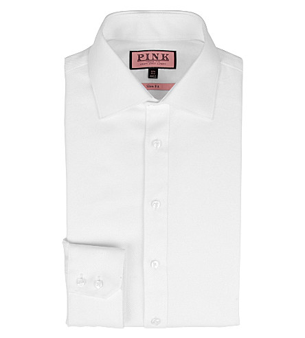 THOMAS PINK Slim-fit single-cuff twill shirt (White