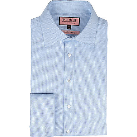 THOMAS PINK Slim-fit single-cuff textured shirt (Blue/blue