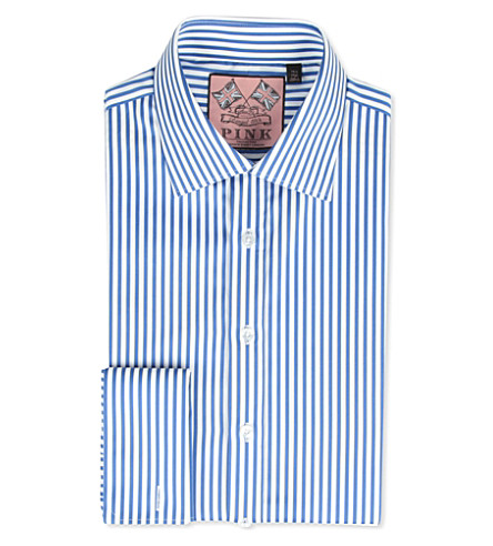 THOMAS PINK Algernon slim-fit double-cuff shirt (Blue