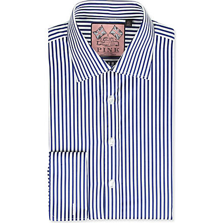THOMAS PINK Algernon slim-fit double-cuff shirt (Navy