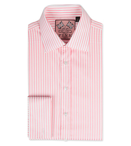 THOMAS PINK Algernon slim-fit double-cuff shirt (Pink