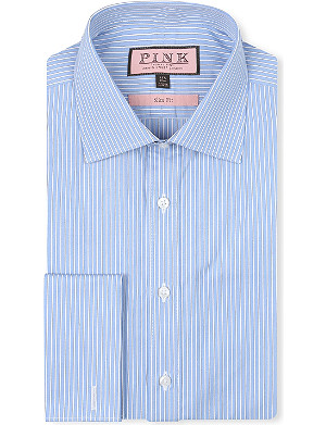 THOMAS PINK Adam striped slim-fit double-cuff shirt