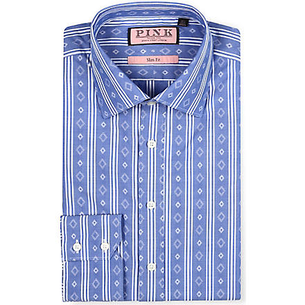 THOMAS PINK Kimber slim-fit single-cuff shirt (Navy/white