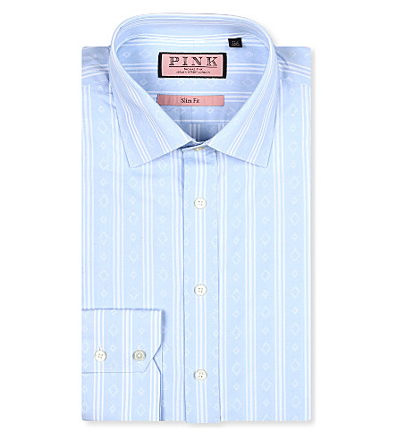 THOMAS PINK Kimber slim-fit single-cuff shirt (Pale blue/white