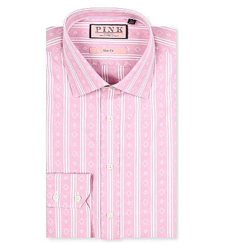 THOMAS PINK Kimber slim-fit single-cuff shirt (Pale pink/white