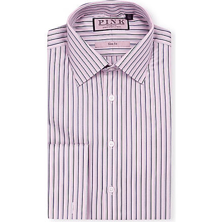 THOMAS PINK Weaver slim-fit double-cuff shirt (Pink/navy