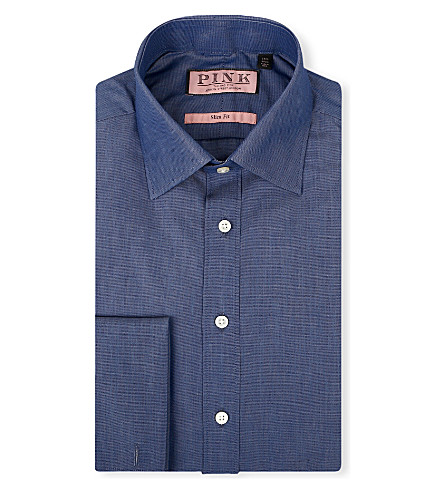 THOMAS PINK Vectra slim-fit double-cuff shirt (Blue/white