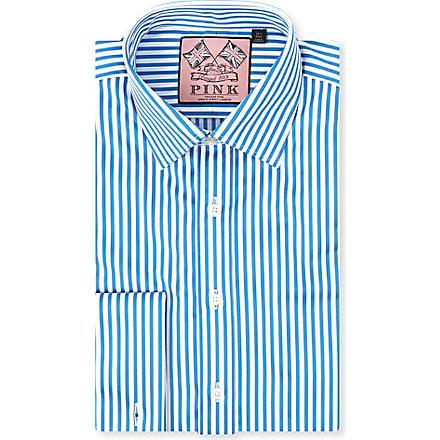 THOMAS PINK Algernon slim-fit double cuff shirt (Blue/white