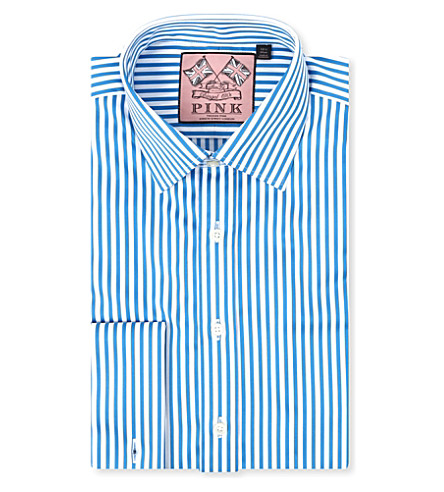 THOMAS PINK Algernon slim-fit double cuff shirt (Blue/white