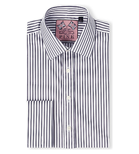 THOMAS PINK Algernon slim-fit double cuff shirt (Grey/white